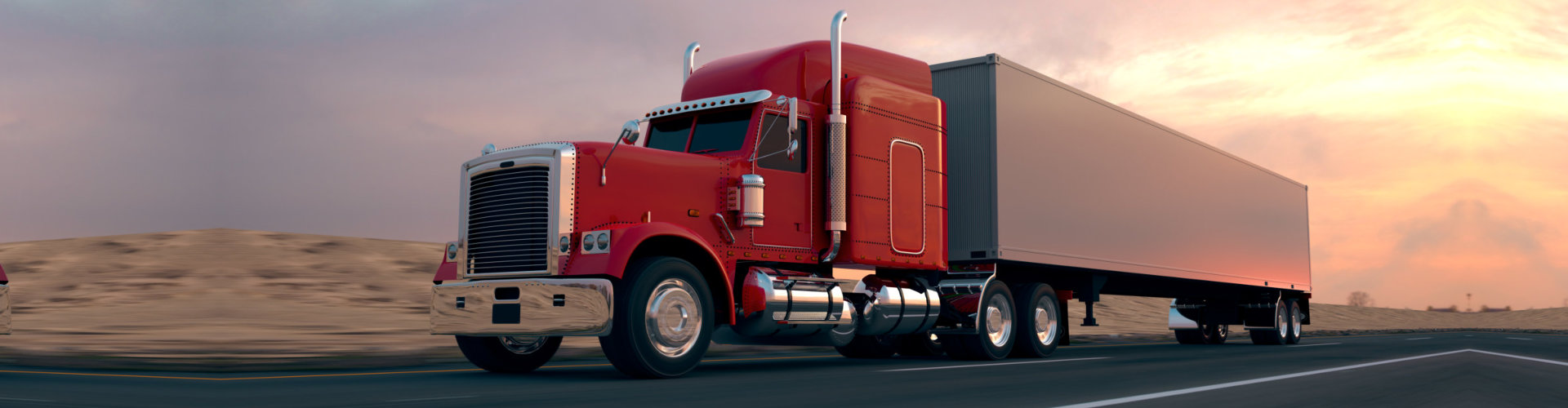18 Wheel Truck on the road during the day. Side view. - Illustration
